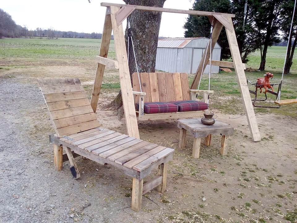 wooden pallet swing, lounger and coffee table set