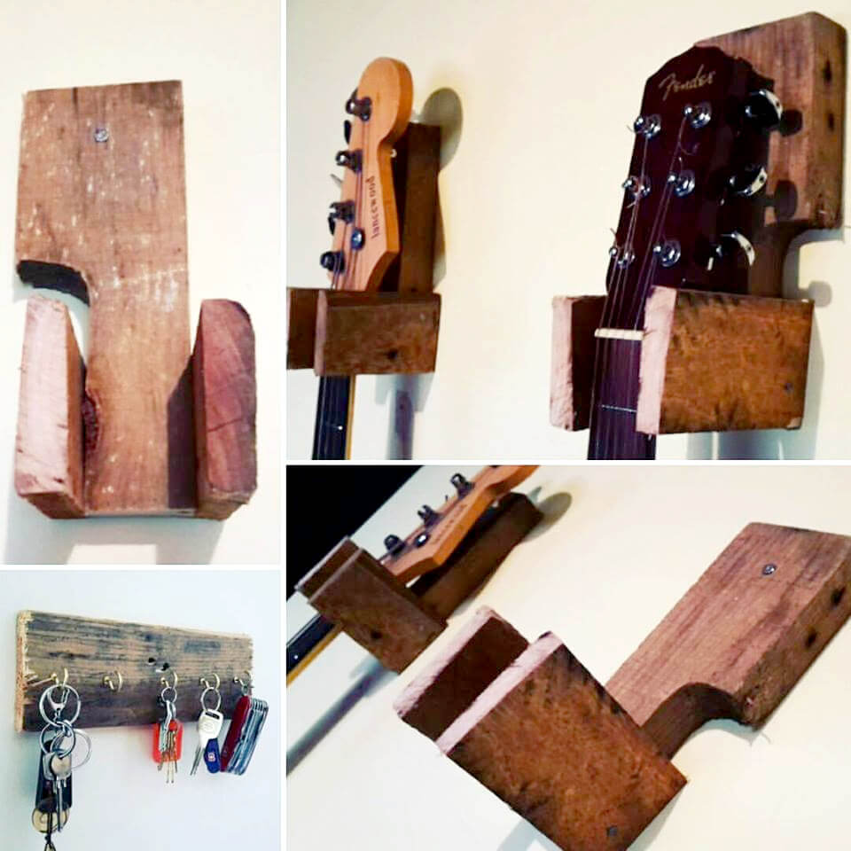 handmade pallet guitar and keys hanger