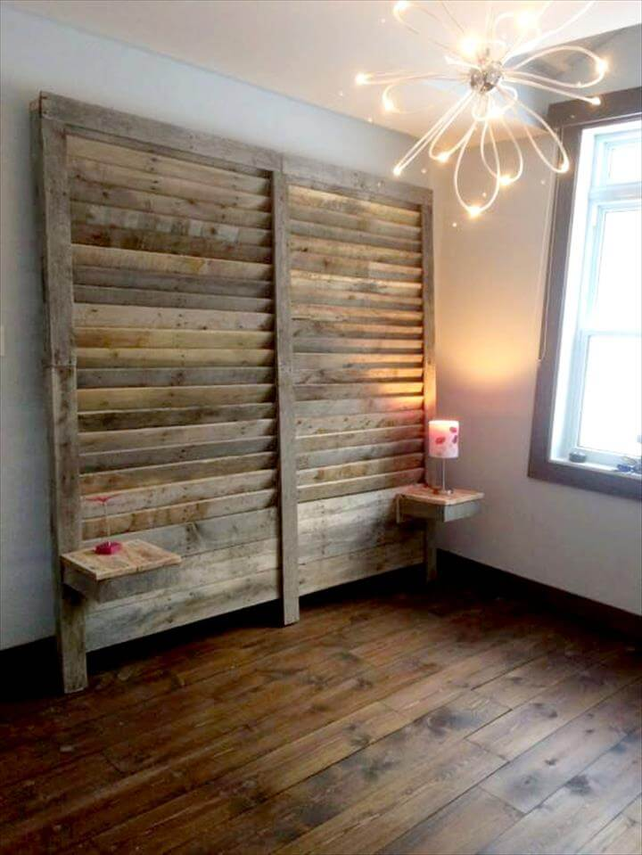 wooden pallet headboard wall with installed nightstands