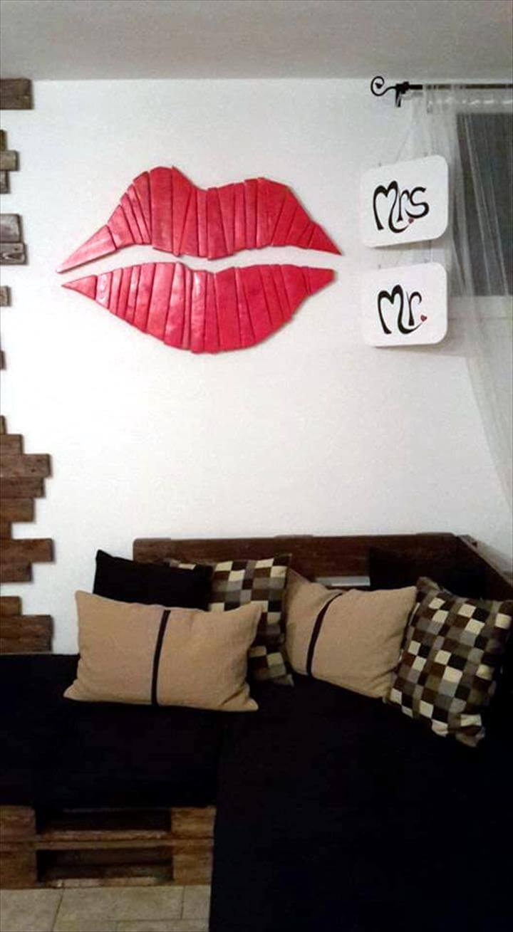 pallet living room wall paneling and lip wall art