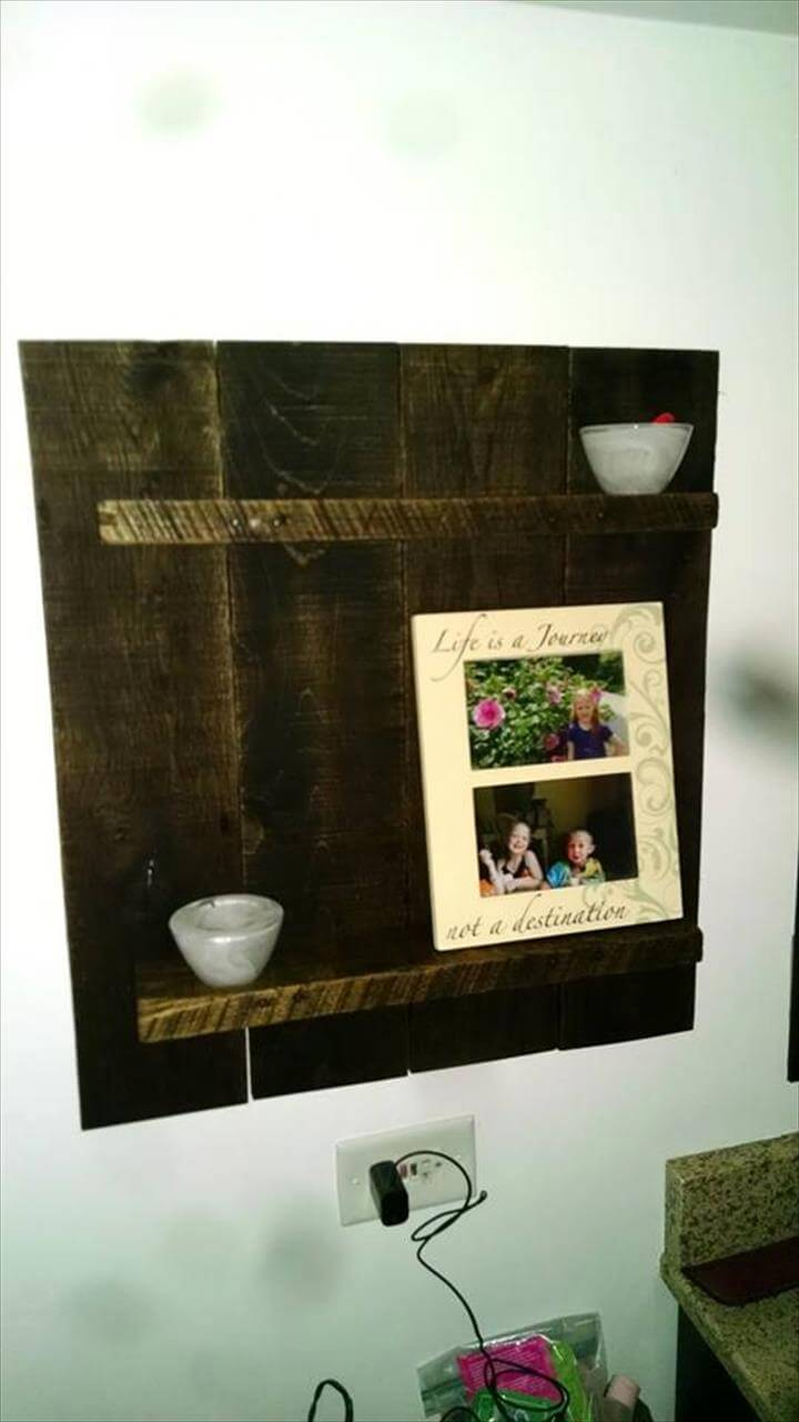 upcycled wooden pallet wall hanging display shelf