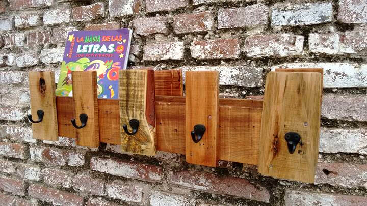 Recycled pallet coat organizer