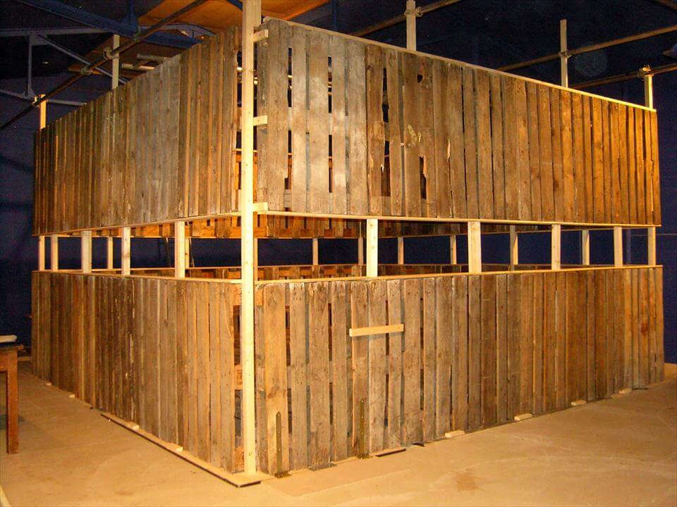 self-installed pallet horse stable or party area