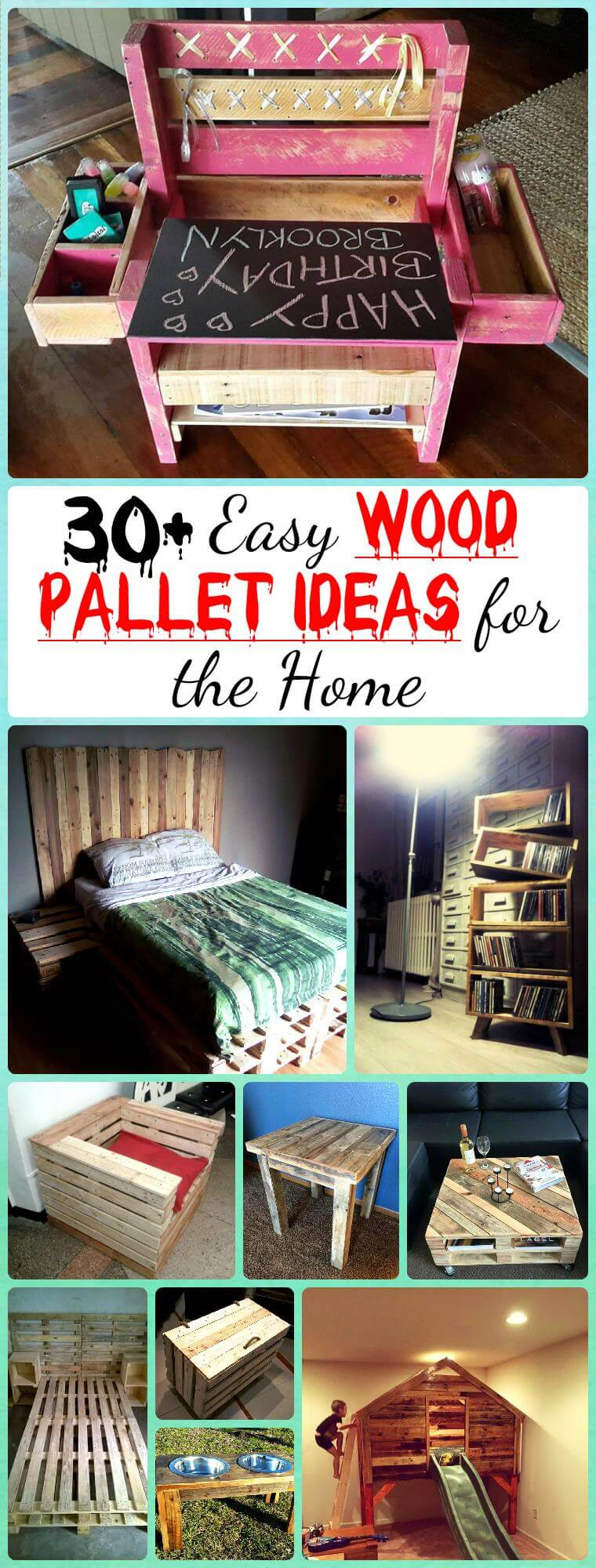 30 easy pallet ideas for the home pallet furniture diy. Black Bedroom Furniture Sets. Home Design Ideas