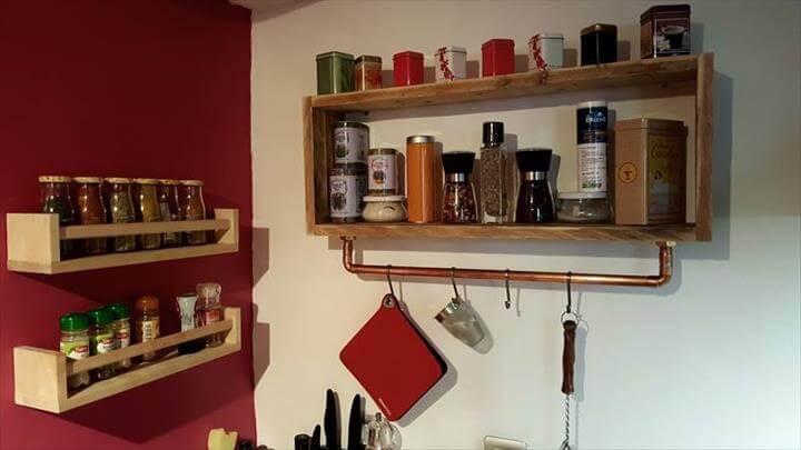 custom wooden pallet kitchen tea rack and shelves
