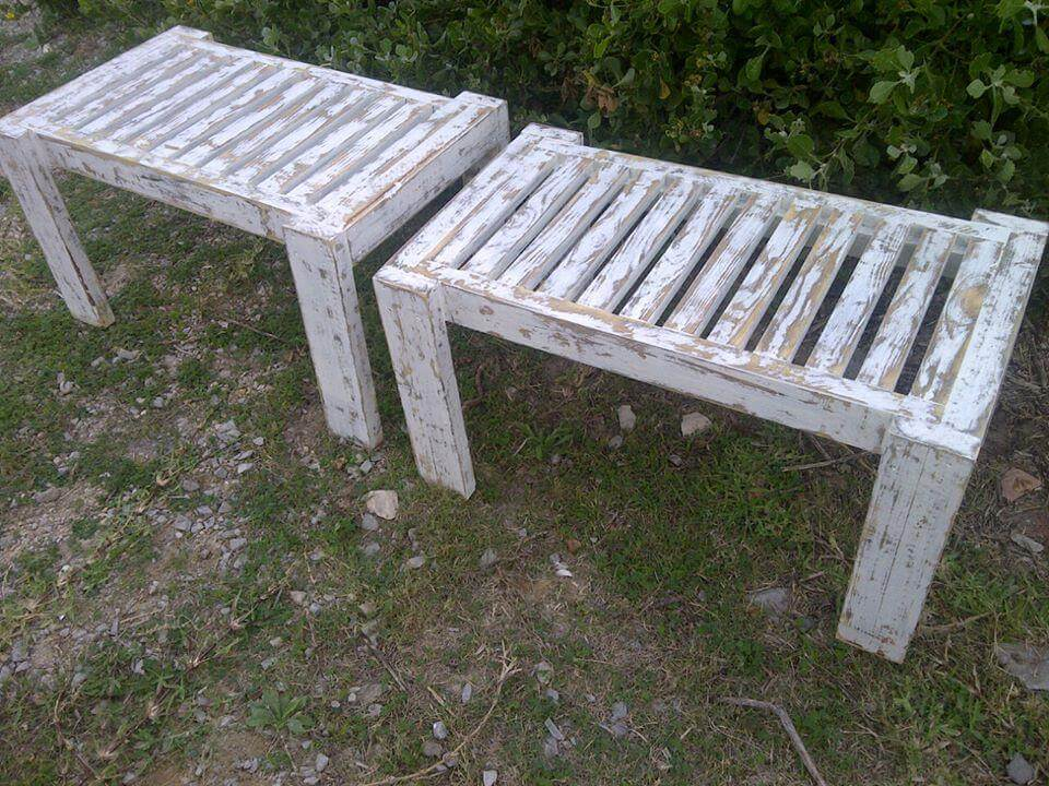 Diy vintage pallet benches pallet furniture diy for Building a bench from pallets