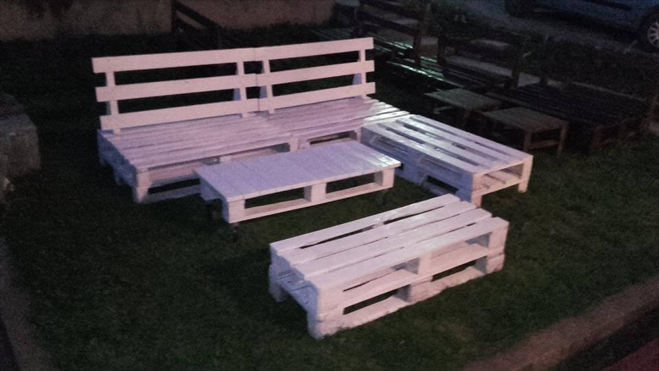 Pallet sofa set for patio pallet furniture diy for White painted pallets