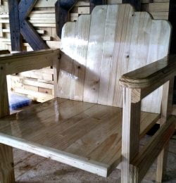 handcrafted wooden pallet chair
