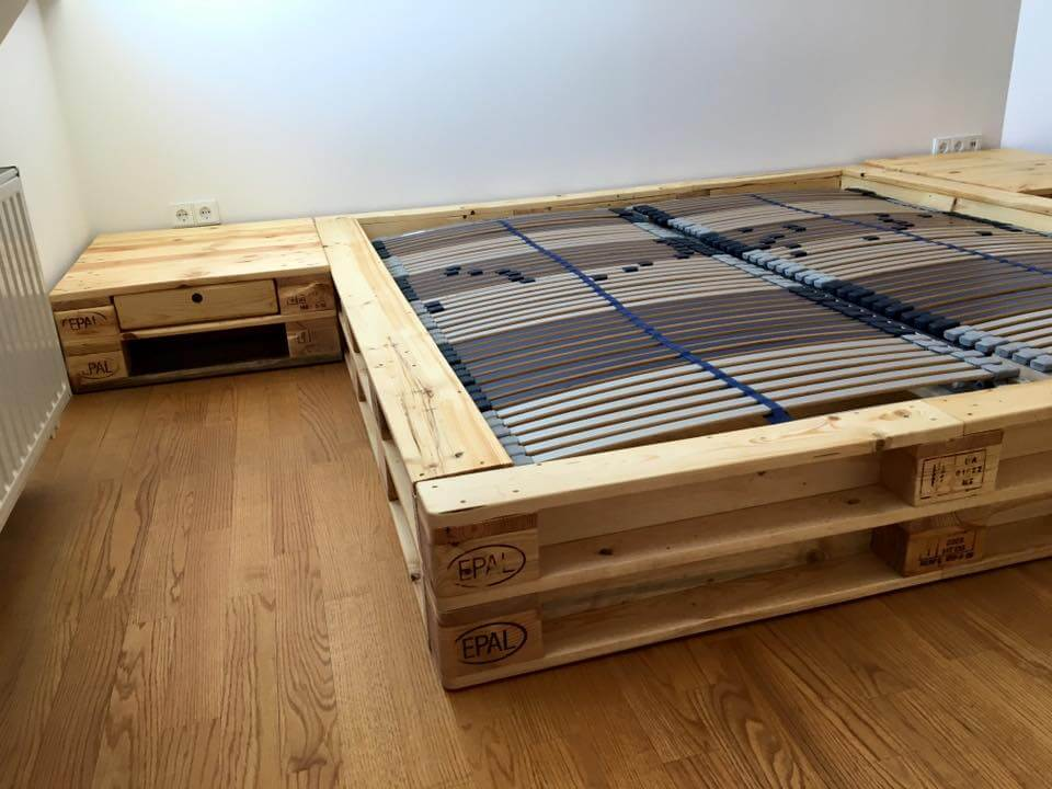 no-cost pallet king platform bed with nightstands