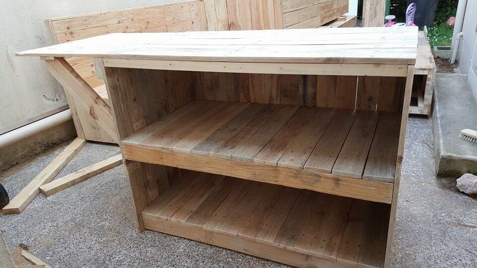 sideboard or kitchen island made of pallets