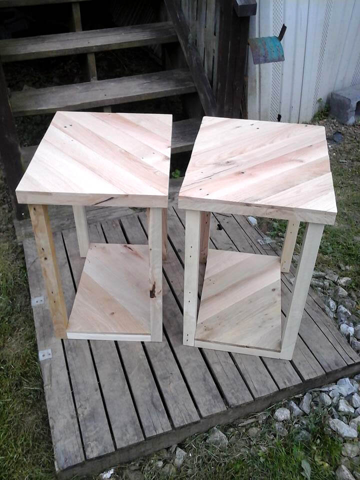 recycled pallet pair of side tables