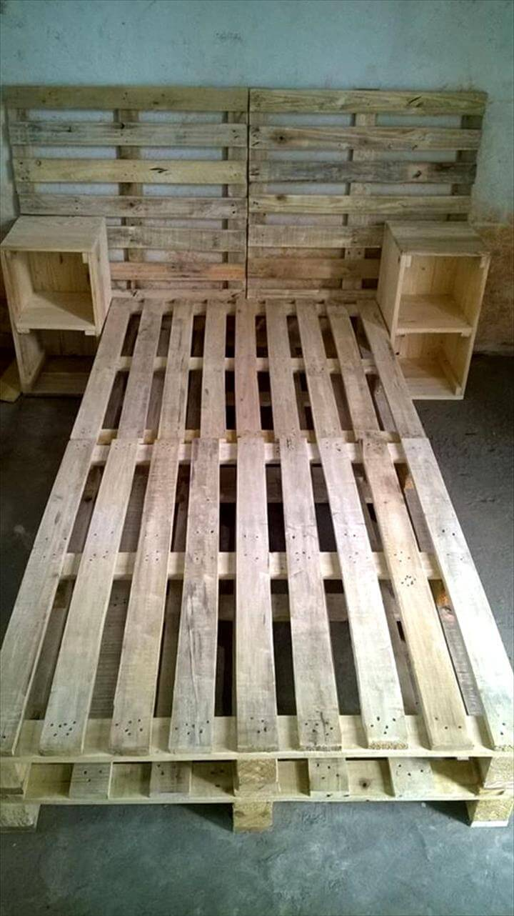 diy pallet bed with headboard with side tables