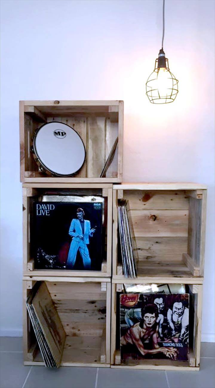 diy pallet crate shelf unit