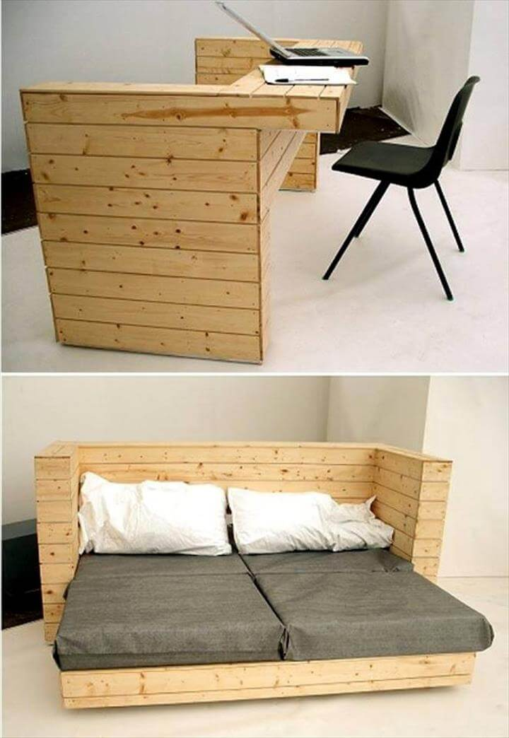 30 easy pallet ideas for the home pallet furniture diy for Pallet bed frame instructions