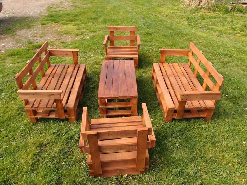 diy pallet garden seating set