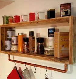pallet and metal pipe kitchen tea rack