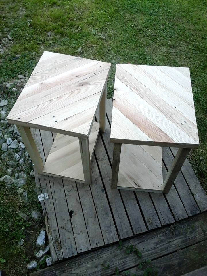 reclaimed pallet pair of mini tables