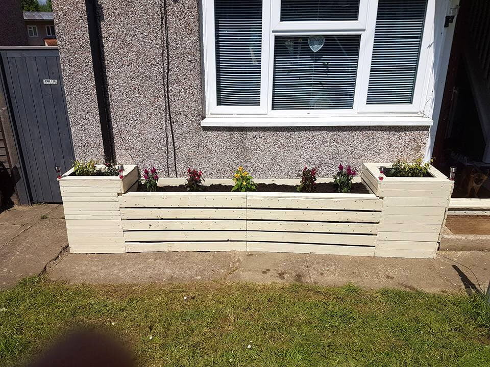 custom creamy white pallet exterior entryway planter