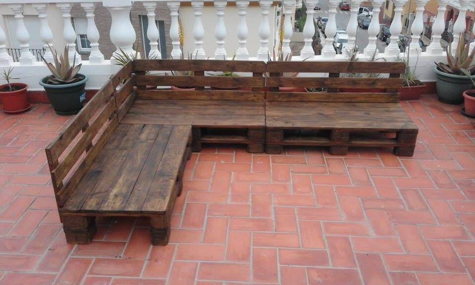 low-cost wooden pallet terrace or patio furniture