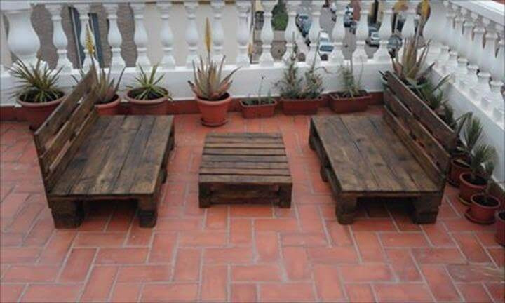 upcycled wooden pallet terrace or garden furniture