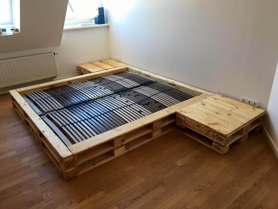 pallet platform bed with nightstands