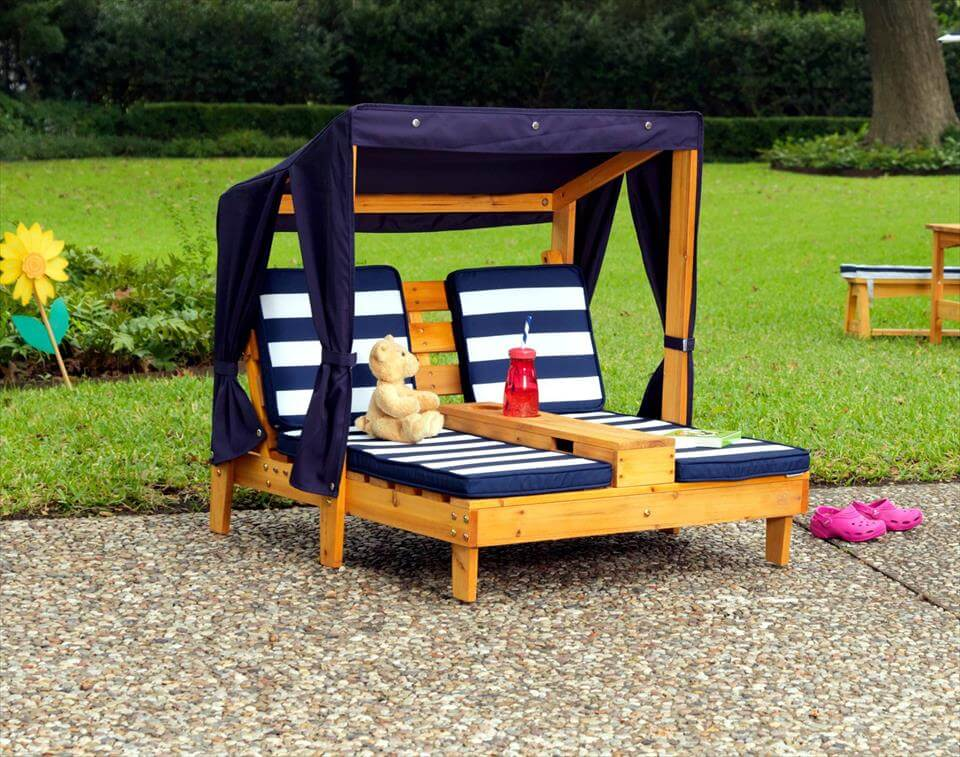 handcrafted wooden pallet combined cushioned loungers with canopy