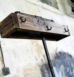 pallet and old metal pipe self-standing coat rack