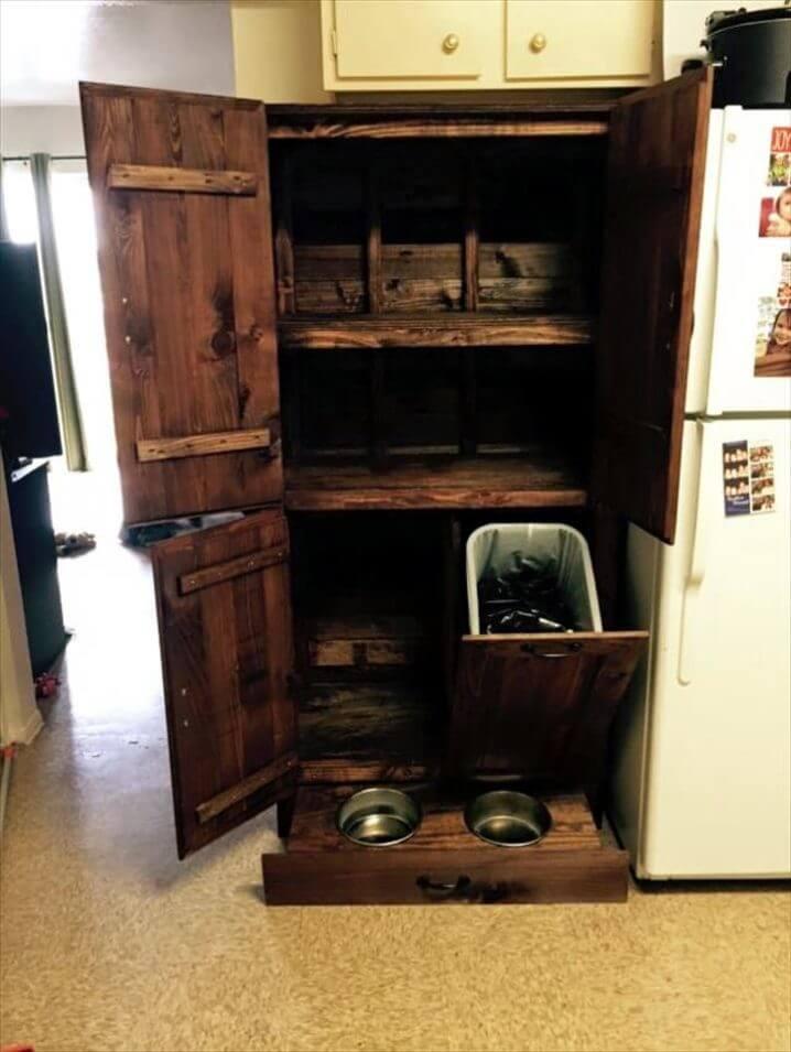 wooden pallet cabinet with storage bin