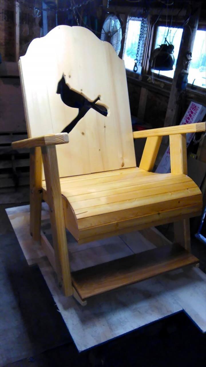 pallet bird art chair