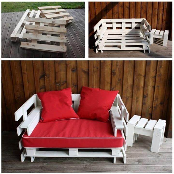 custom wooden pallet couch with red cushion