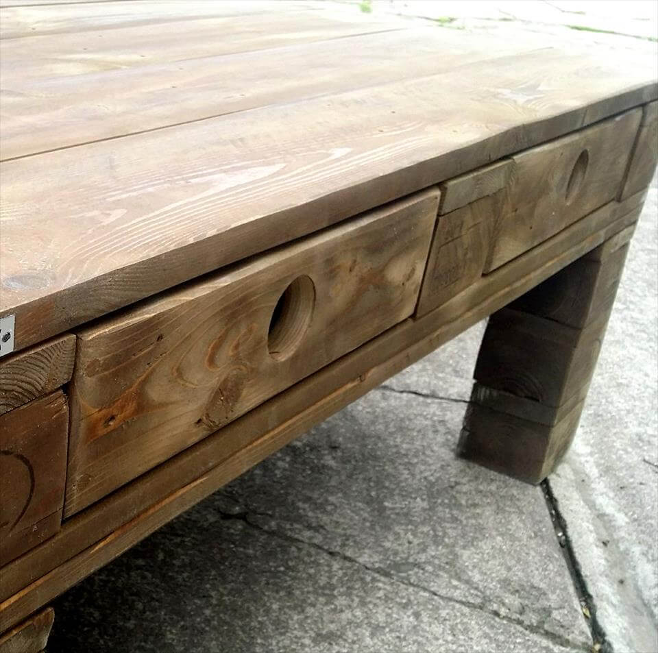 Simple rustic wood pallet coffee table pallet furniture diy simple rustic wood pallet coffee table geotapseo Images