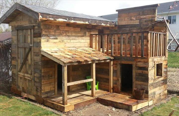 no-cost wooden pallet bungalow playhouse or cabin