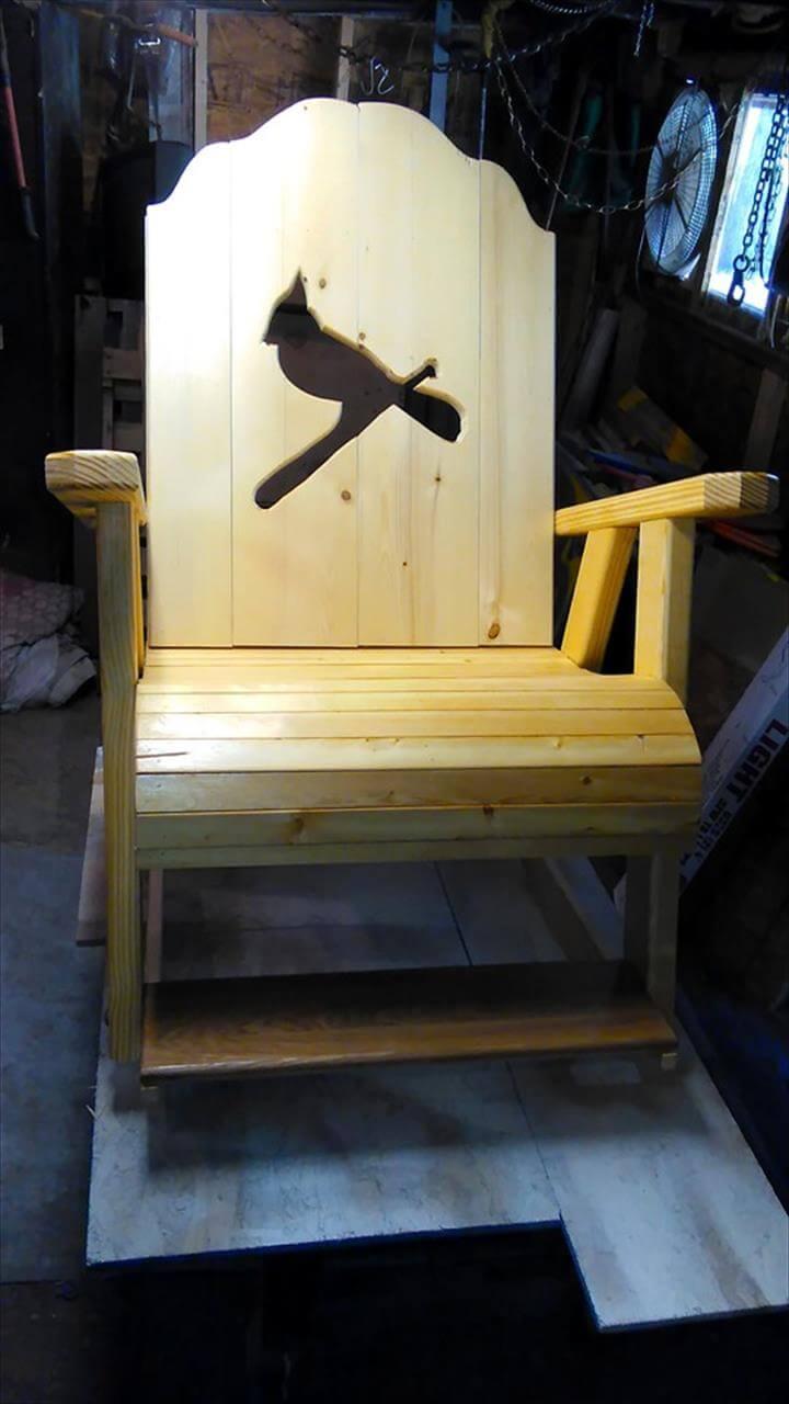 no-cost pallet bird art chair