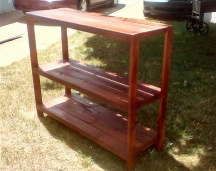 handmade wooden pallet pot organizer or console