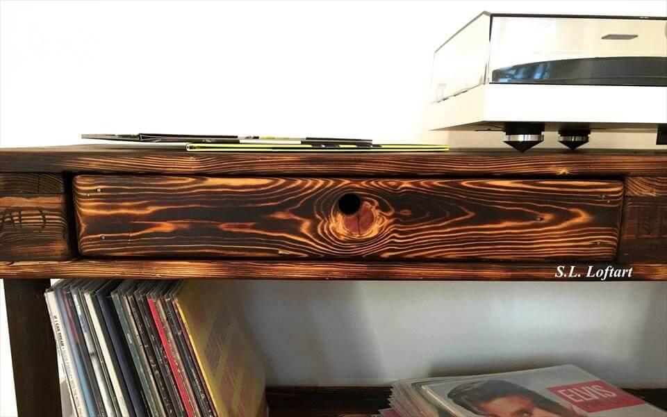 custom wooden pallet media console