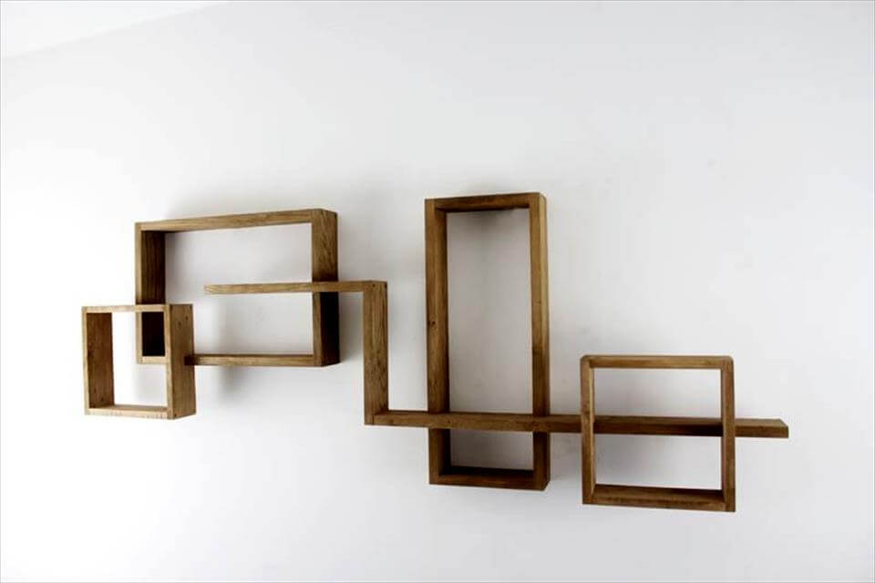 recycled pallet art style geometrical wall shelves