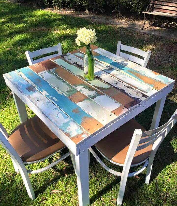 diy pallet dining set for outdoors