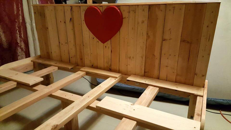 wooden pallet king bed with footboard and headboard