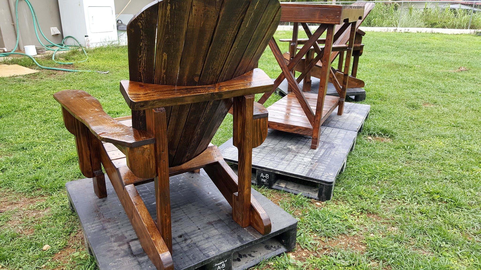 Pallet Adirondack Chair and Table Set
