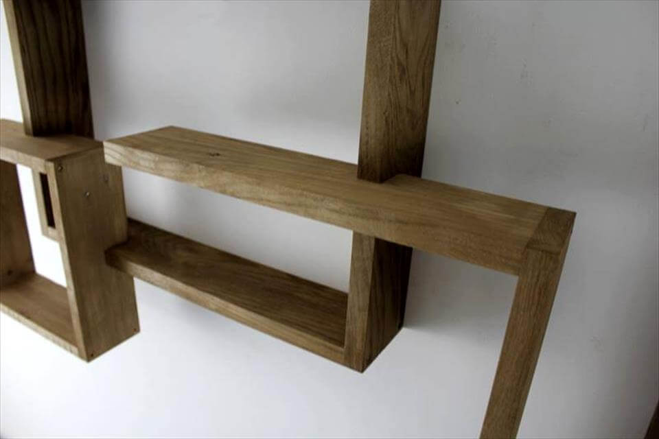 rustic wooden pallet art style shelves