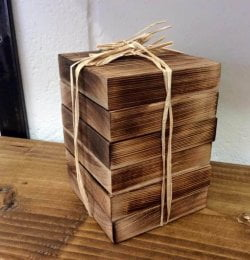 Wooden pack of six pallet coasters