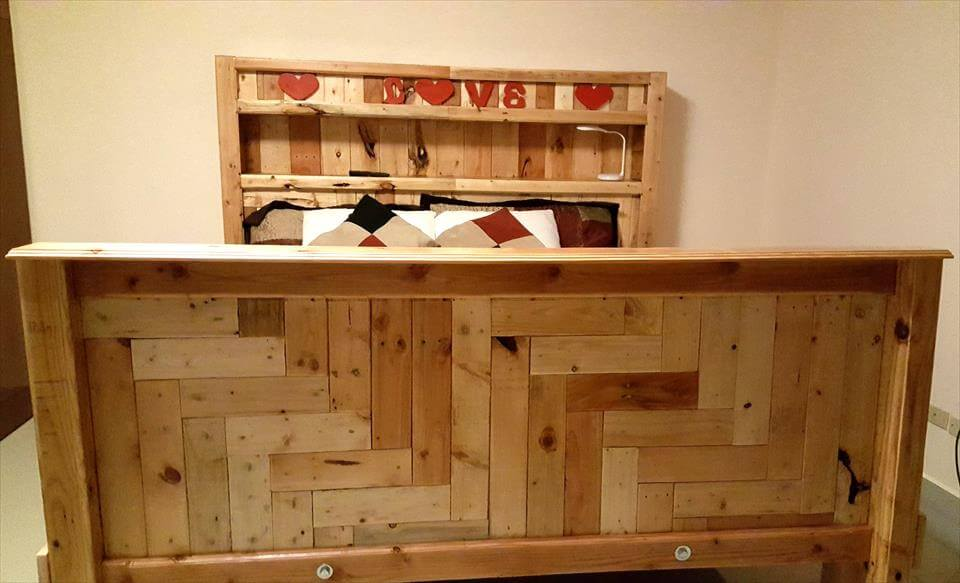 handcrafted wooden pallet king size bed