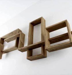 art style pallet living room geometrical wall shelves
