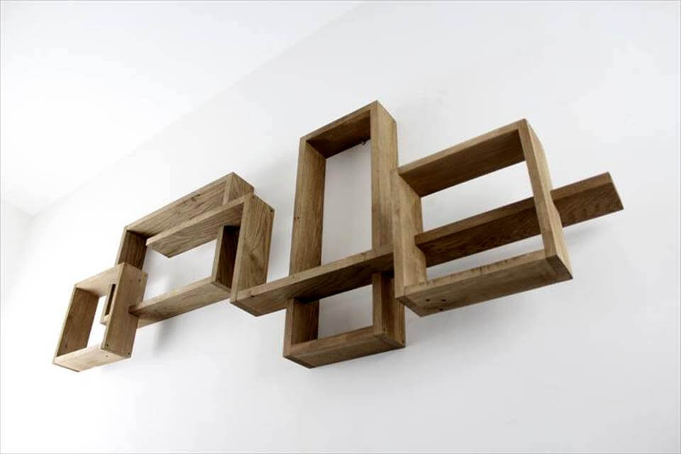 art style pallet living room geometrical wall shelves