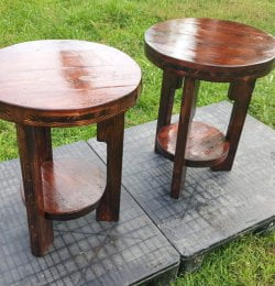 sturdy round pallet end tables