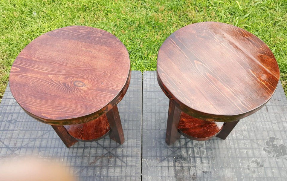 Round Top Pallet End Tables | Pallet Furniture DIY