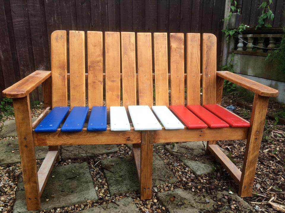 wooden bench with painted flag