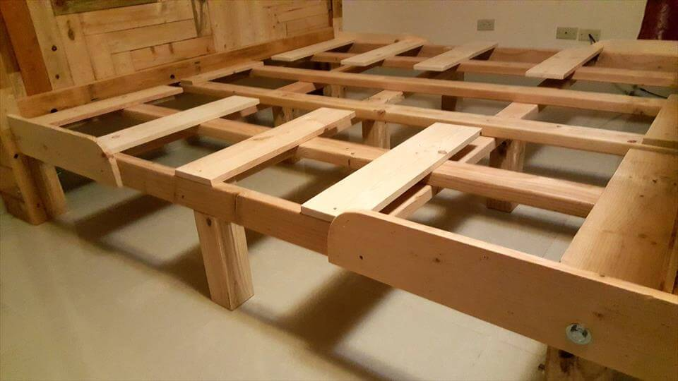 handmade wooden pallet bed frame