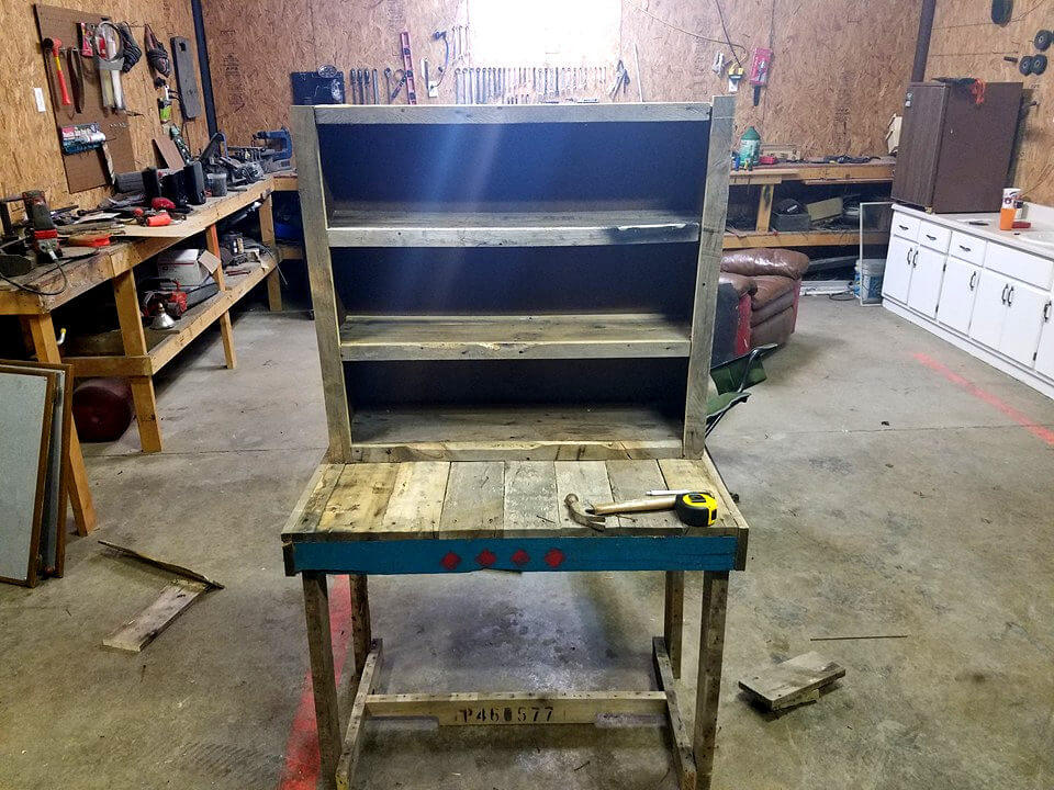 recycled pallet computer desk with separate shelving unit