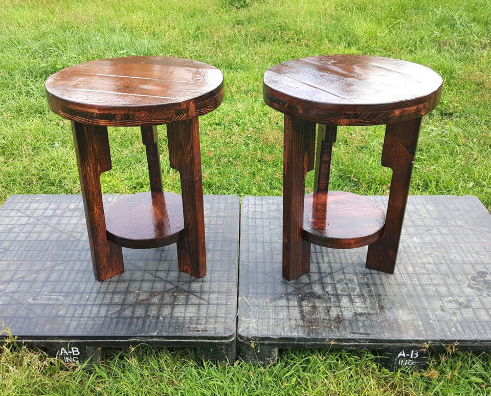 Round Top Pallet End Tables | Pallet Furniture DIY